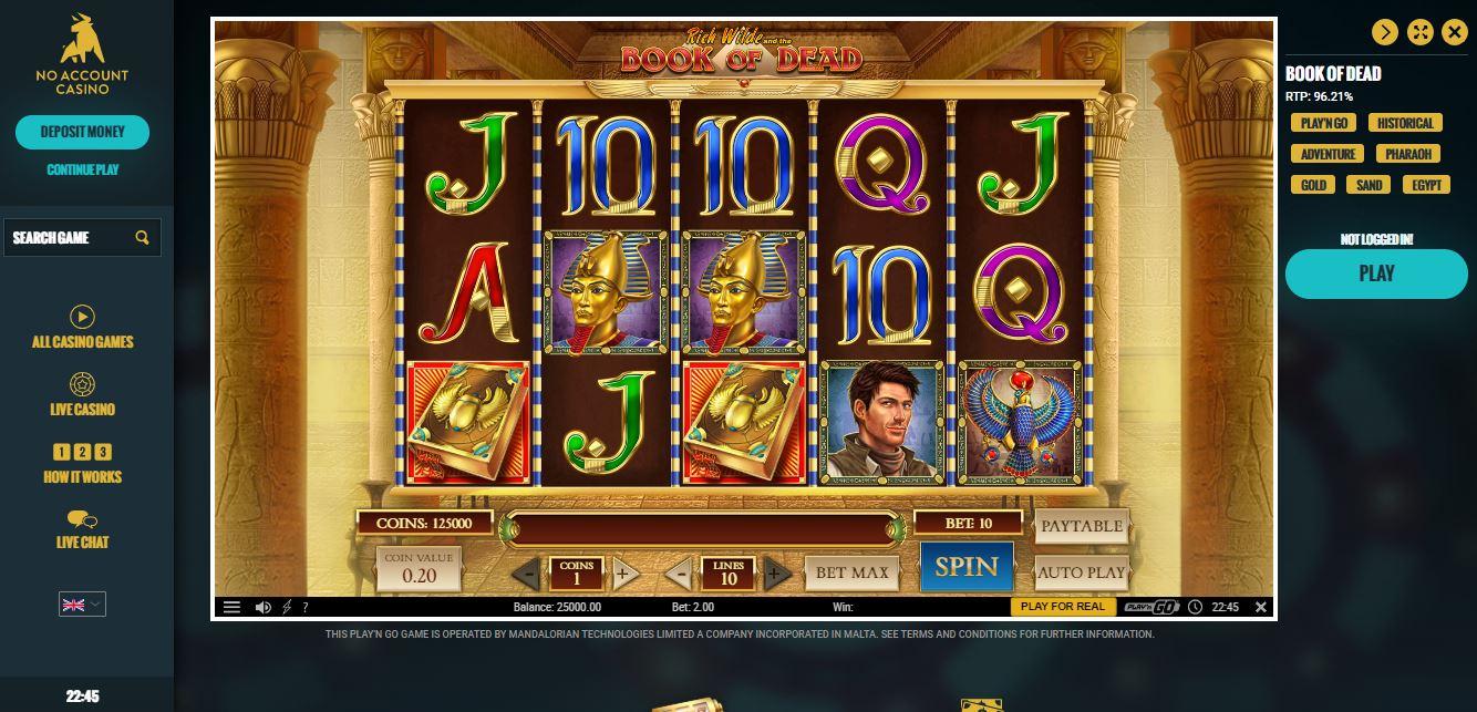 No account casino Mr Play arna