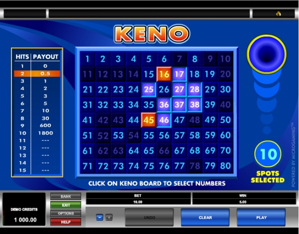 Spelvariationer av Keno casino basket