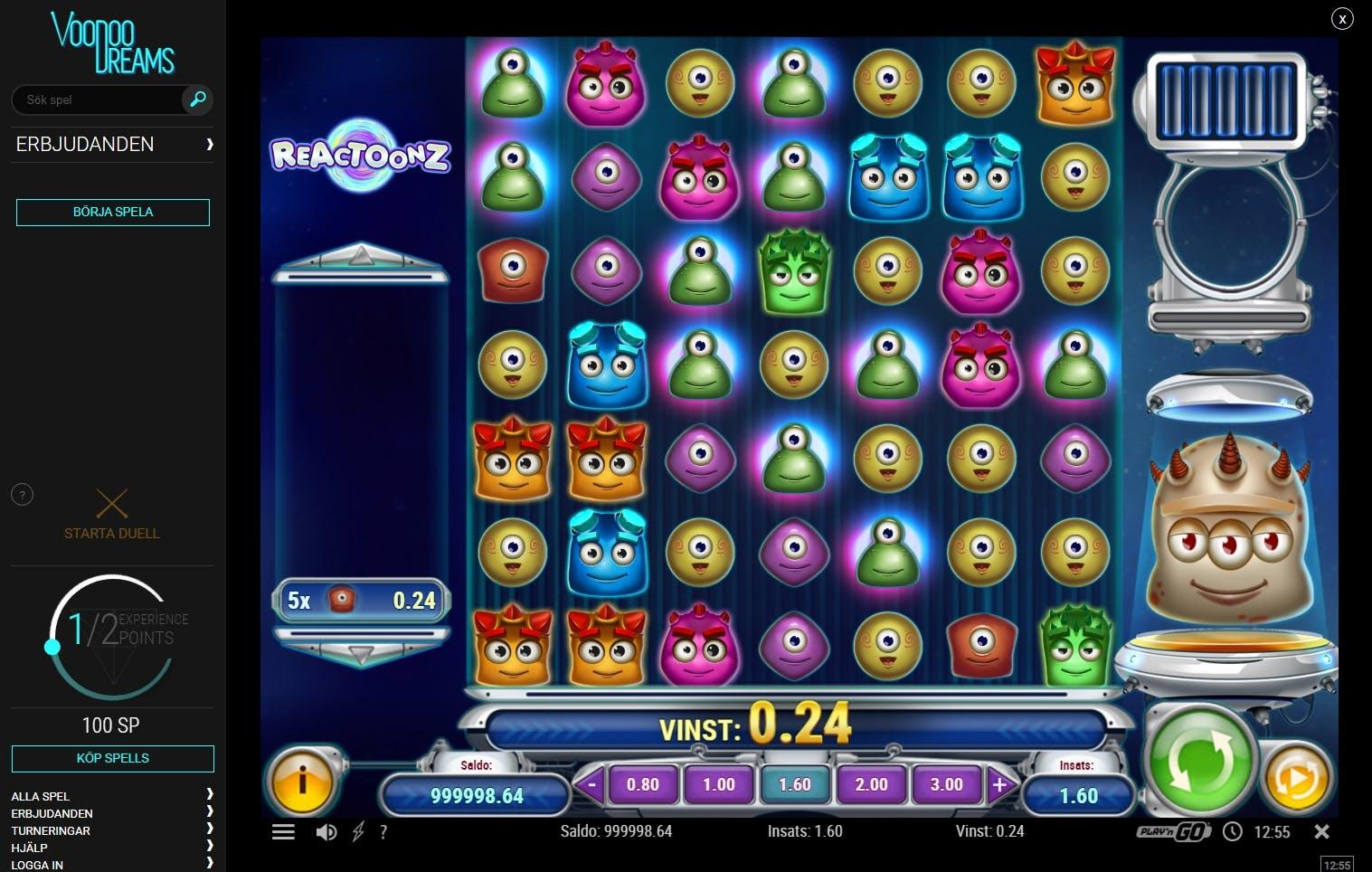 Vadslagning på nätet Reactoonz casino spelas